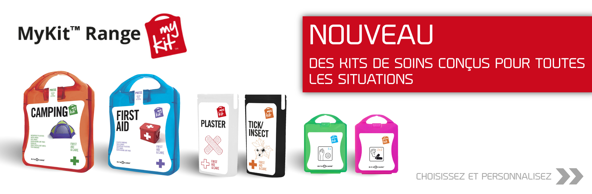 kits de soins personnalisés,toutes situations,camping,running,hotel,voyage,pansements,insectes,sports,my kit, micro kit, mini kit